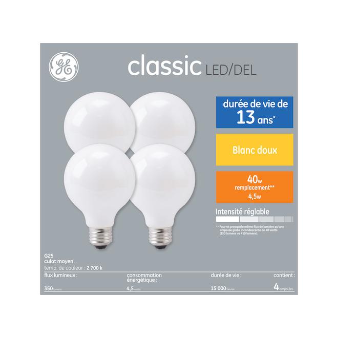 Ampoule DEL GE, G25 FR, 4 W, blanc doux, 4/pqt
