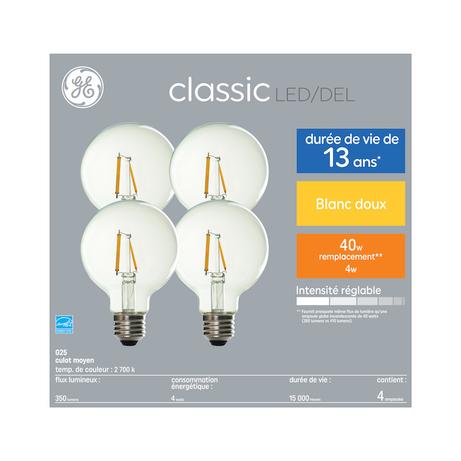 GE LED Bulb - G25 - 4 W - Soft White - 4/Pack