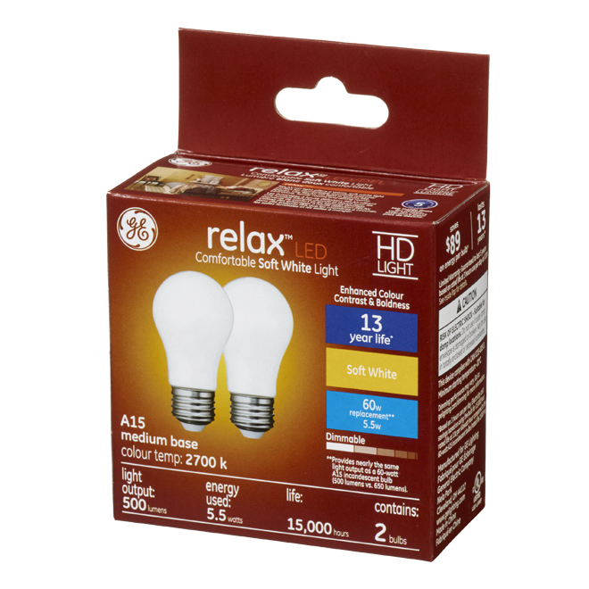 LED Bulb - A15 - 5.5 W - Glass - Soft White - 2-Pack