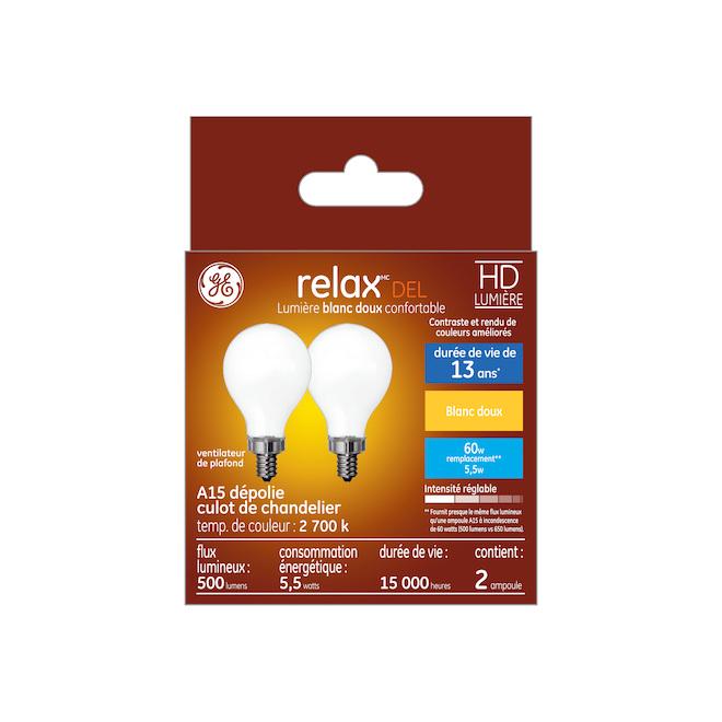 Ampoule DEL HD, A15, 5,5 W, verre, blanc doux, 2/pqt