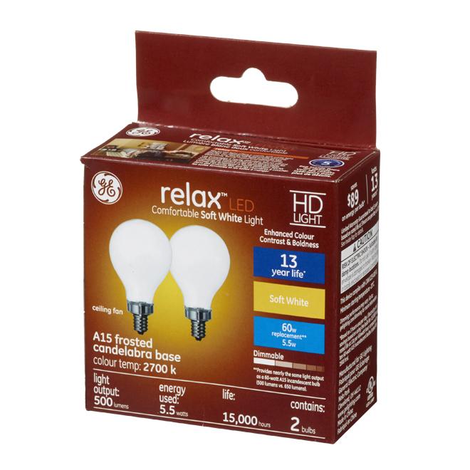 HD LED Bulb - A15 - 5.5 W - Glass - Soft White - 2-Pack