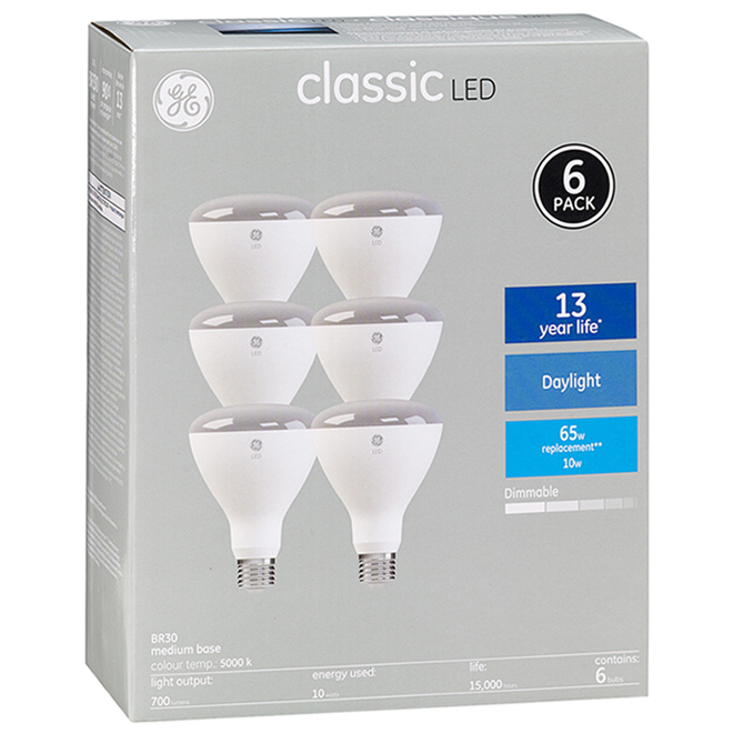 LED Bulb - BR30 - 8.5 W - Plastic - Day Light - 6-Pack