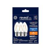 Reveal LED Bulb - BM - 4 W - Glass - Clear - 3-Pack