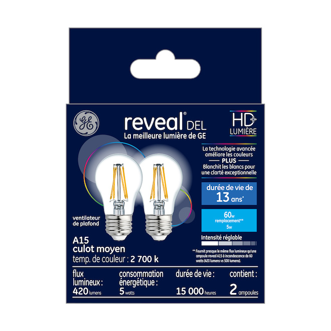 Reveal LED Bulb - A15 - 5.5 W - Glass - Clear - 2-Pack