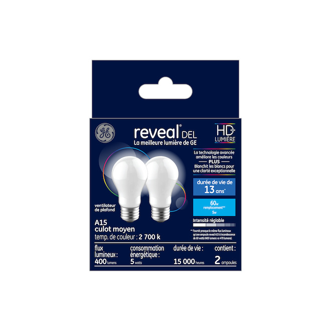 Reveal LED Bulb - A15 - 5.5 W - Glass - Frosted - 2-Pack