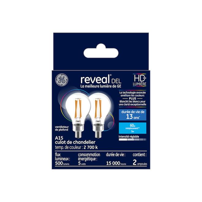 Reveal LED Bulb - A15 - 5.5 W - Glass - 2-Pack