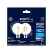 GE Reveal LED Bulb - G25 - 5.5 W = 60 W - 2/Pack