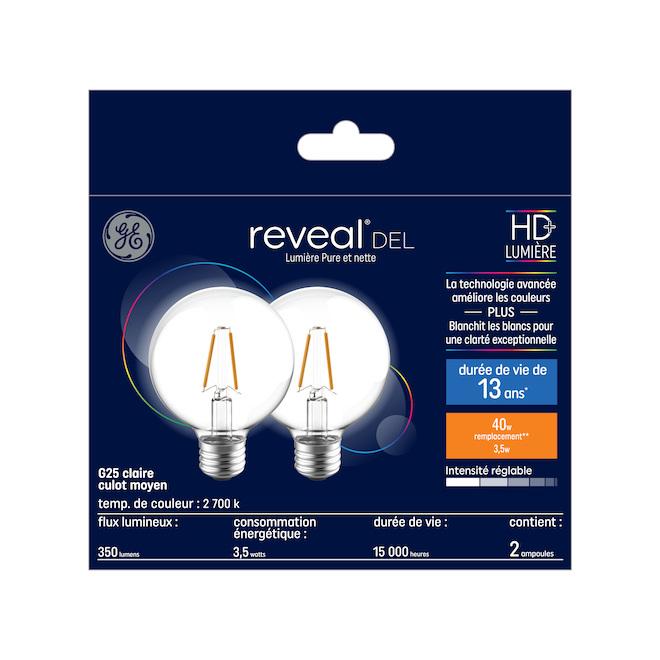 Ampoule DEL GE Reveal, G25, 4,5 W équivalent 40 W, paquet de 2