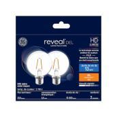 GE Reveal LED Bulb - G25 - 4.5 W - 40 W Equivalent - 2/Pack