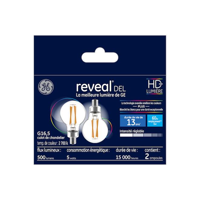 Reveal(R) LED Bulb - G16 - 5.5 W - Clear - 2/Pack
