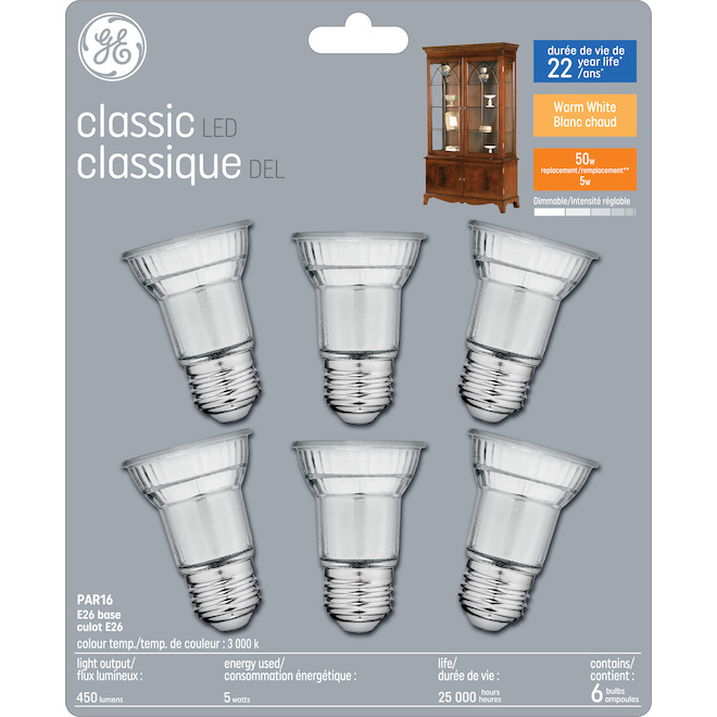 LED Bulb - PAR16 - 5.5 W - Warm White - 6/Pack