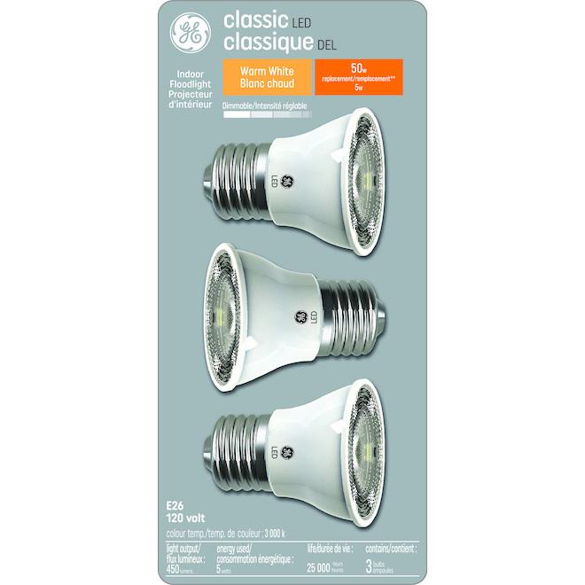 Ampoule DEL, PAR16, 5,5 w, blanc brillant, pqt/3