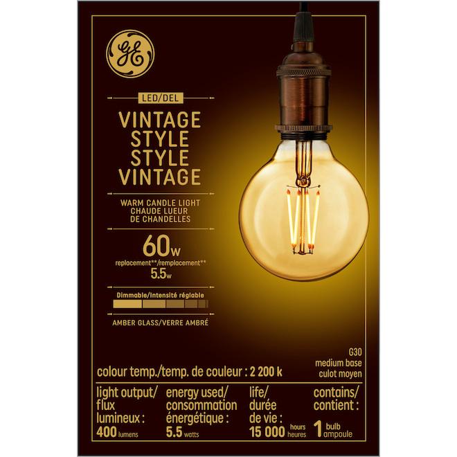 LED Vintage Bulb - Amber - G30 - 5.5 W