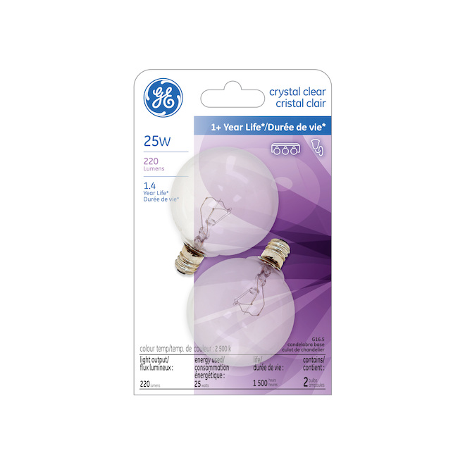 Incandescent Bulb - G16.5 - 25 W - Soft White - 2/Pack