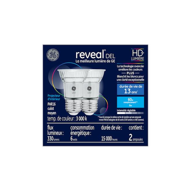 Reveal(R) LED Bulb - PAR16 - 6 W - Glass - Clear - 2-Pack