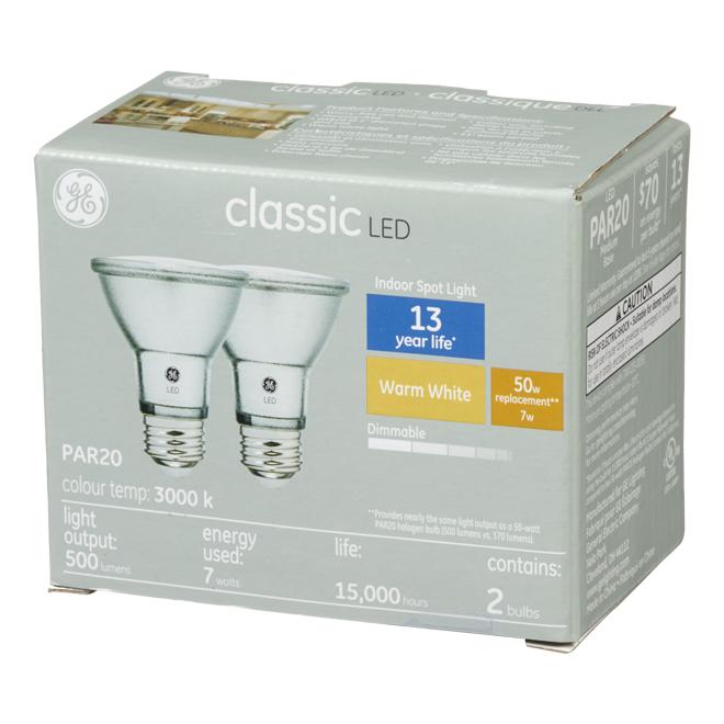 LED Bulb - PAR20 - 7 W - Metal - Warm White - Pack of 2