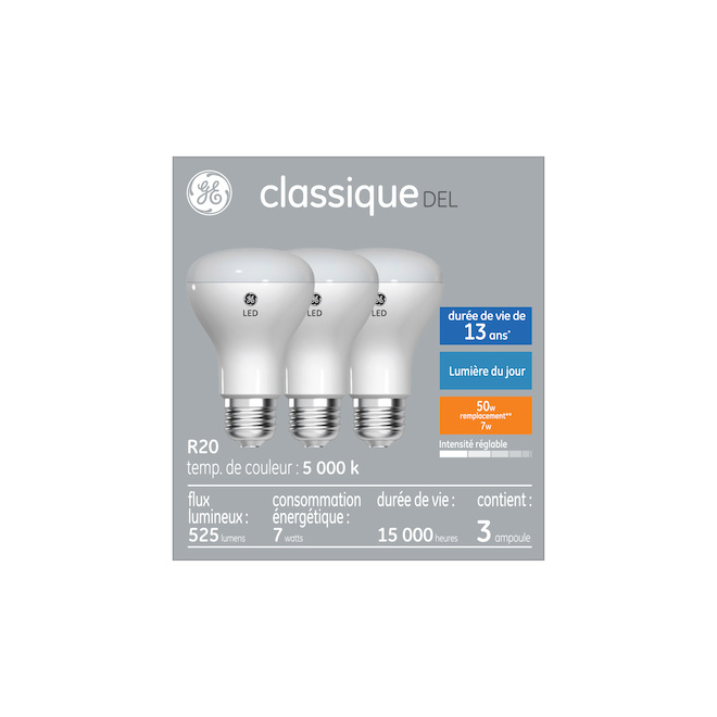 LED Bulb - R20 - 6.5 W - Plastic - Day Light - 3-Pack