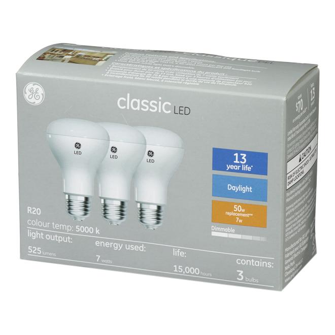 LED Bulb - R20 - 6.5 W - Plastic - Day Light - 3-Pack