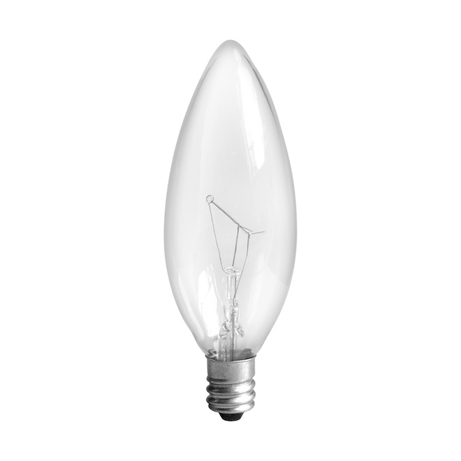Ampoule incandescente, B10, 25 W, verre, blanc doux, 6/pqt