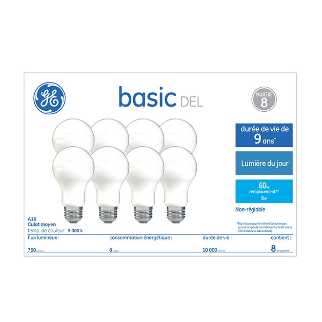 GE LED Bulb - A19 - 8.5 W - Glass - Day Light - 8-Pack