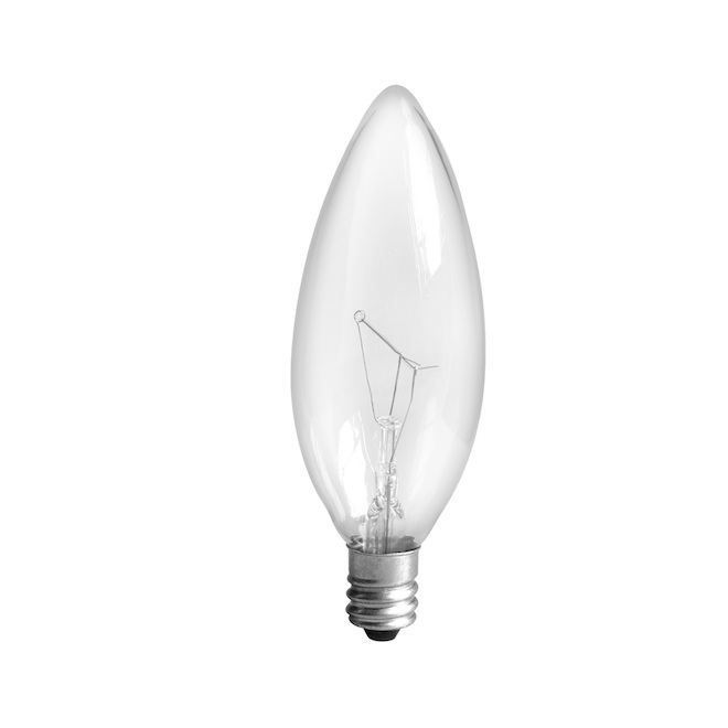 Incandescent Bulb - B8 CAC- 15 W - Glass- Soft White- 6-Pack