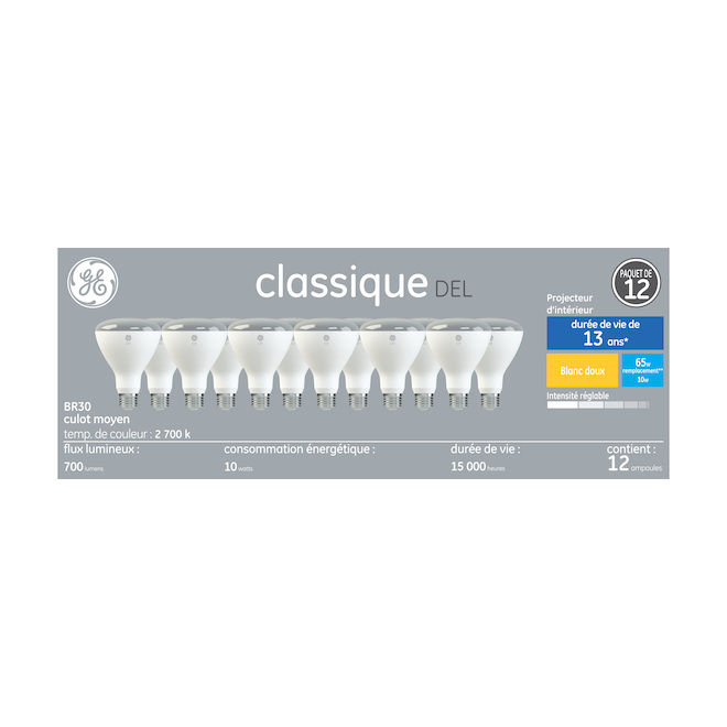 DEL Bulb - R30 - 8.5 W - Plastic - Soft White - 12-Pack