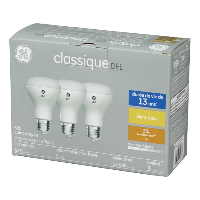 Ampoule projecteur DEL R20, 6,5 W, blanc doux, paquet de 3