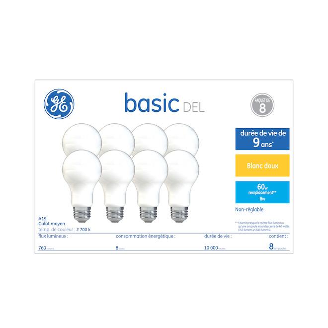 GE LED Bulb - A19 - 8.5 W = 60 W - Soft White - 8/Pack