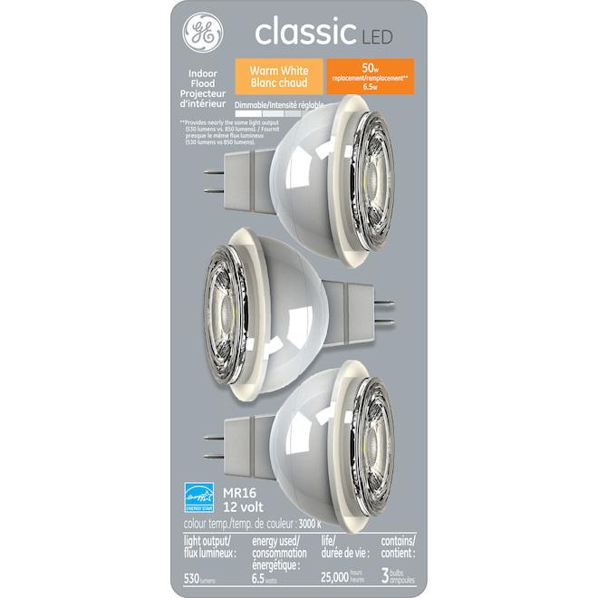 Ampoule DEL MR16, 6,5 W, blanc chaud, pqt/3