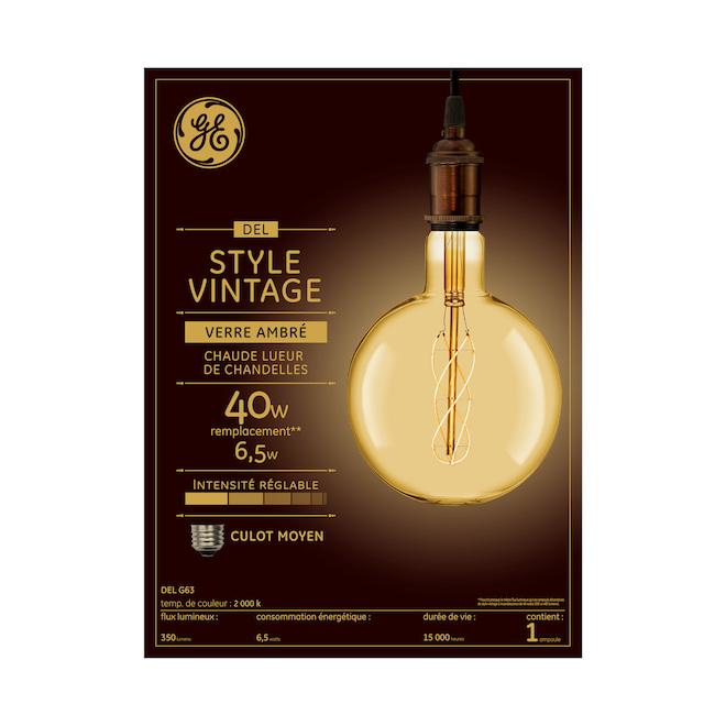 LED Bulb G63 - 6.5 W - Amber - Candlelight