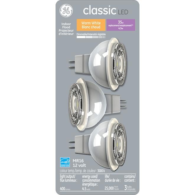 Ampoule DEL MR16, 5,5 W = 35 W, blanc chaud, pqt/3