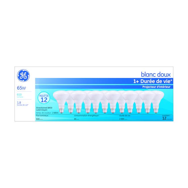 Ampoule halogène BR30, 65 W, blanc doux, paquet de 12