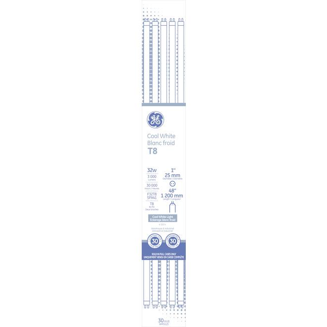 Tube fluorescent, 32 W, T8, blanc froid, 36'', pqt/30