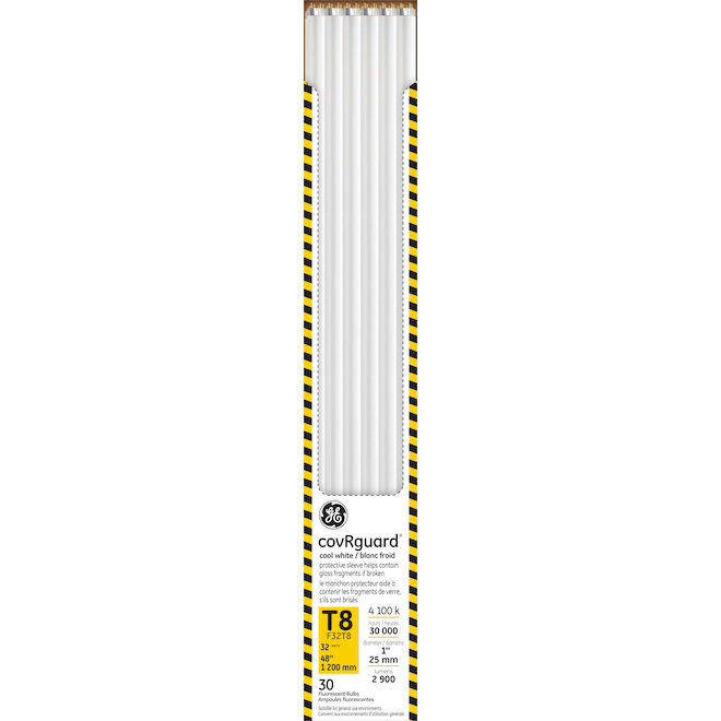 "Tube fluorescent GE, T8, 32 W, 48"", blanc froid"