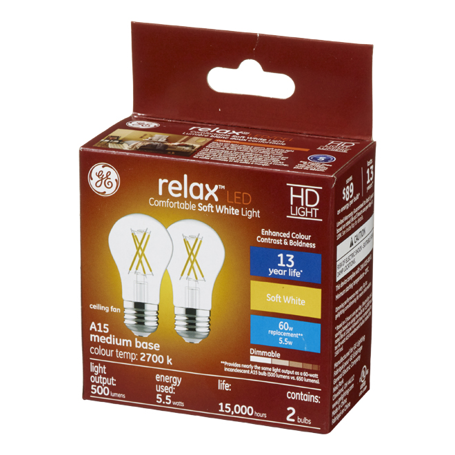 GE LED Bulb - A15 - 5.5 W - Soft White - 2/Pack