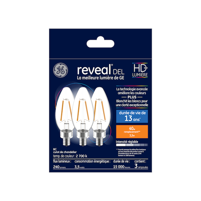 Reveal(R) LED Bulb - BC - 4 W - Clear - 3/Pack