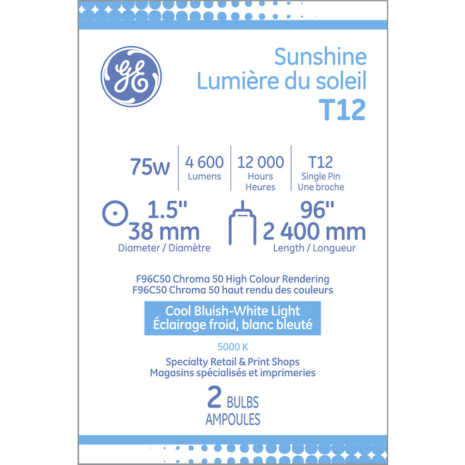 "GE Fluorescent Tube - T12 - 75 W - 96"" - Day Light - 2/Pack"