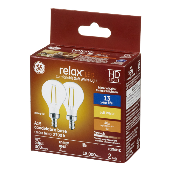 GE LED Bulb - A15 CAC - 4 W - Soft White - 2/Pack