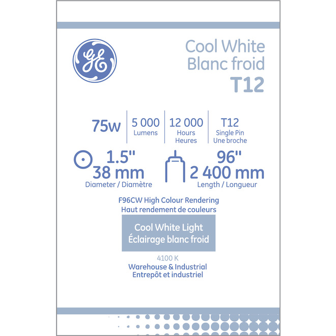 "GE Fluorescent Tube - T12 - 75 W - 96"" - Bright White - 2/Pack"