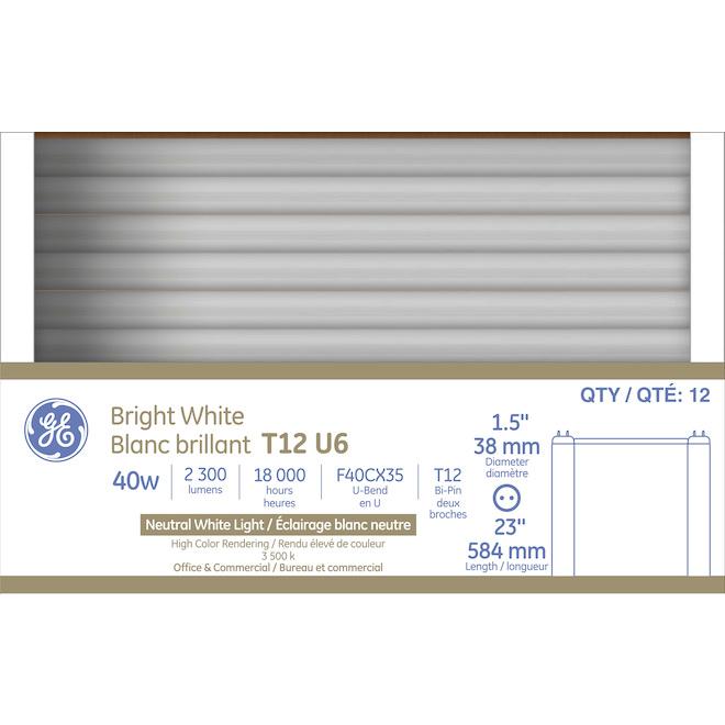 "GE Fluorescent Tube - T12 U6 - 40 W - 23"" - Bright White - 12/Pack"