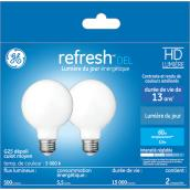 GE LED Bulb - G25 FR - 5.5 W - Day Light - 2/Pack