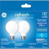 GE LED Bulb - G25 FR - 5.5 W - Day Light - 2/Pack