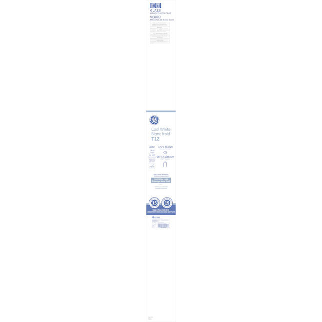 """GE Fluorescent Tube - T12 - 60 W - 96"""" - Cool White - 15/Pack"""