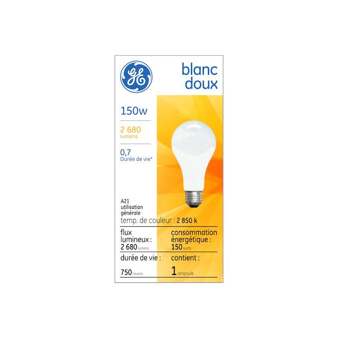 Ampoule incandescente GE, A21, 150 W, blanc doux