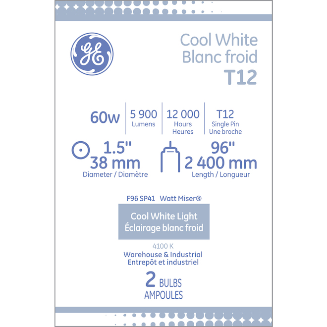 """GE Fluorescent Tube - T12 - 60 W - 96"""" - Cool White - 2/Pack"""