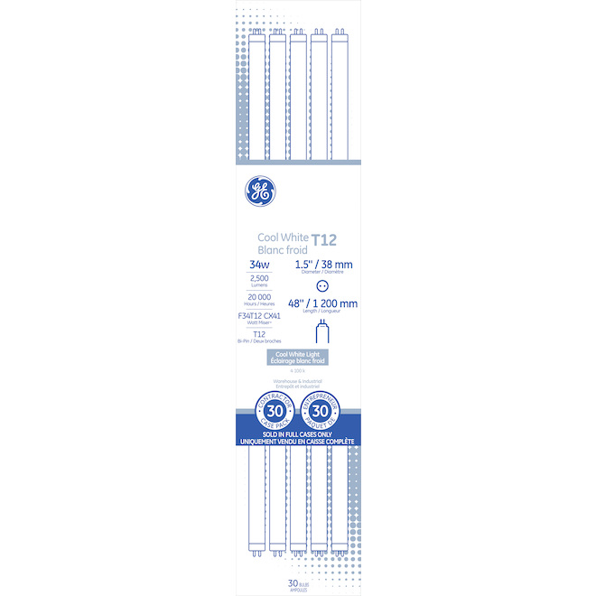 "GE Fluorescent Tube - T12 - 34 W - 48"" - Cool White - 30/Pack"