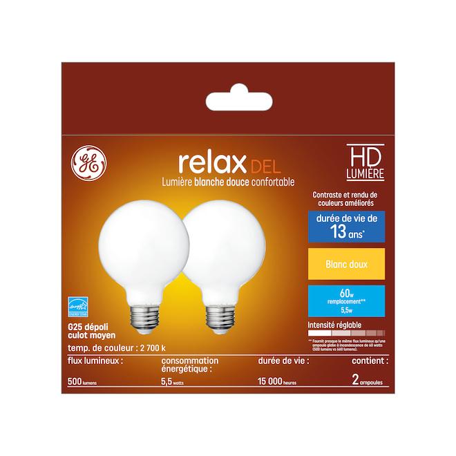 Ampoule DEL GE, G25 FR, 5,5 W, blanc doux, 2/pqt