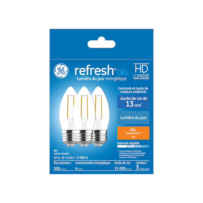 GE LED Bulb - BM - 4 W - Day Light - 3/Pack