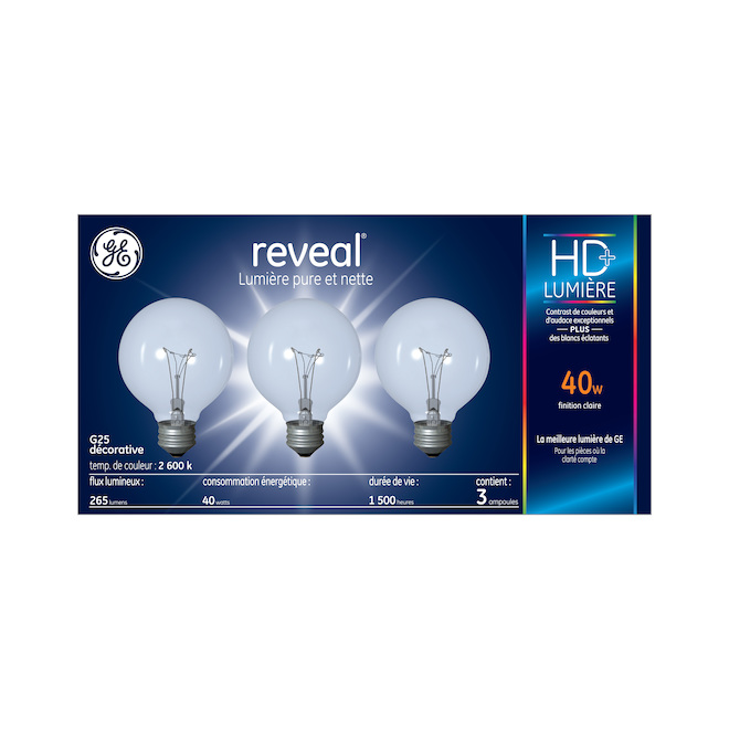 Reveal(R) Incandescent Bulb - G25 - 40 W - Clear - 3/Pack