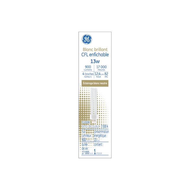 Tube fluo-compact GE, G24Q-1, 13 W, neutre